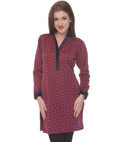 34% discount on Black Purple Woolen Sleeve Jacquard Design Kurti at 99 labels