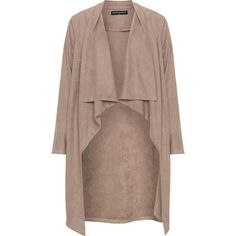 Manon Baptiste Beige Plus Size Faux suede jacket (445 TND) ❤ liked on Polyvore featuring outerwear, jackets, beige, plus size, woven jacket, beige jacket, knee length jacket, faux suede jacket and womens plus size jackets