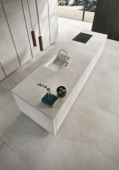 A Minimalist's Dream: Polished Way Materia Kitchen for the U.- A Minimalist's Dream: Polished Way Materia Kitchen for the Urban Home Textured finish of the kitchen island sets it apart visually - Modern Kitchen Design, Interior Design Kitchen, Modern Interior Design, Coastal Interior, Design Bathroom, Minimalist Kitchen, Minimalist Decor, Minimalist Jewelry, Modern Minimalist