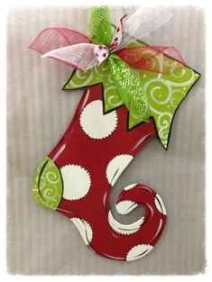 Christmas stocking door hanger by PaintedTimber on Etsy | Wooden ...