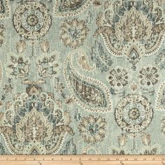 Needs to go work rug. P Kaufmann Plazzo Paisley Geyer Blue from Screen printed on cotton duck. Colors include mocha, ivory and shades of teal. Paisley Fabric, Blue Fabric, Paisley Art, Turquoise Fabric, Fabric Shower Curtains, Drapery Fabric, Shades Of Teal, Home Decor Fabric, Chair Fabric