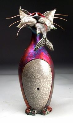 Mitchell Grafton - Cat with Fish Ceramic Sculpture.  hidden ridge gallery