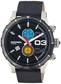 a1e7027fe02c Diesel DZ4331 Mens Double Down Chronograph Black Round Leather Strap Wrist  Watch