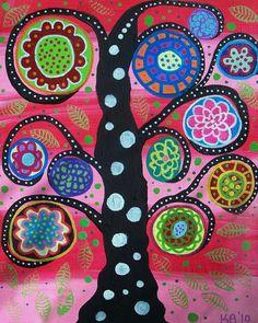 Kerri Ambrosino Art PRINT Pink Happy Mexican Folk Art  Flower Trees on Etsy, $20.00