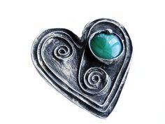 Emerald green luminous heart -shaped glass - metal brooch by GepArtStudio | GepArtJewellery - Limited Run on ArtFire