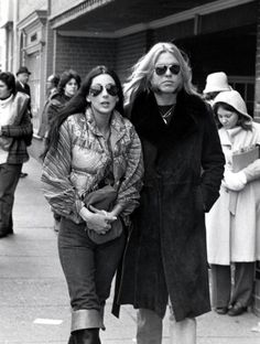 January 21st, 1977– Cher and Gregg Allman on Wisconsin Avenue in Georgetown for Jimmy Carter's Inaugaration.