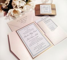For Jayne - Elegance BLUSH and ANTIQUE GOLD Pocket Folder Style Wedding Invitation