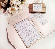 For Jayne - Elegance BLUSH and ANTIQUE GOLD Pocket Folder Style Wedding Invitation