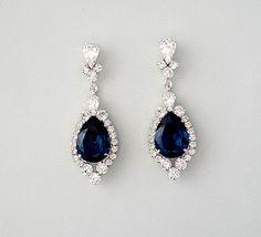 """Need a little """"somthing blue""""? Sapphire Blue Swarovski Crystal Teardrop Earrings"""