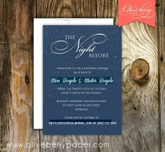 The Night Before - rehearsal dinner invite + rehearsal practice invite - Olive Berry Paper