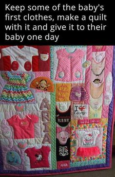 Sewing For Kids Clothes Baby Clothes Quilt Keepsake - 10 Creative Baby Keepsake Ideas on Pretty My Party - There are so many fun and creative ways you can preserve those precious baby memories. Check out these 10 Creative Baby Keepsake Ideas. Diy Baby Clothes Memory Quilt, Baby Memory Quilt, Old Baby Clothes, Memory Quilts, Baby Clothes Storage, Men Clothes, Kids Clothing, Quilt Baby, Baby Nap Mats