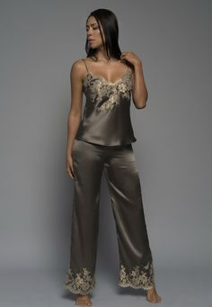Gilded Rose Pants in Mocha French Lace and Silk Satin Luxury Sleepwear, Loungewear and Lingerie Honeymoon Attire, Sleepwear & Loungewear, Silk Slip, Luxury Lingerie, French Lace, Looking Stunning, Lounge Wear, Couture, Pants