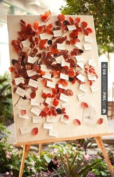So neat! - fall inspired escort card display | CHECK OUT MORE IDEAS AT WEDDINGPINS.NET | #weddings #escortcards #weddingescortcards #coolideas #events #forweddings #ilovecards #romance #beauty #planners #cards #weddingdecorations