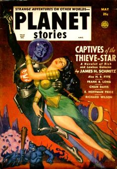Planet Stories magazine cover, retro futurism back to the future tomorrow tomorrowland space planet age sci-fi pulp flying train airship steampunk dieselpunk alien aliens martian martians BEMs BEM's
