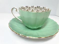 Shelley Tea Cup and Saucer Gold Green Cups English Bone