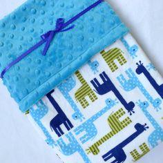 Baby Blanket, Minky Baby Blanket, Giraffe Baby Blanket- Navy Blue, Jade Green, Azure Blue Baby Blanket for Your Baby Boy