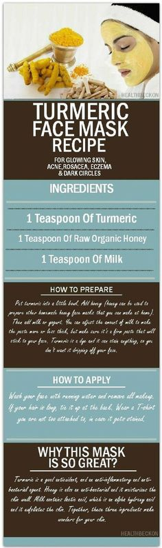 Turmeric Face Mask Recipe for Glowing Skin, Acne, Rosacea, Eczema and Dark Circles - 15 Ultimate Clear Skin Tips, Tricks and DIYs | GleamItUp