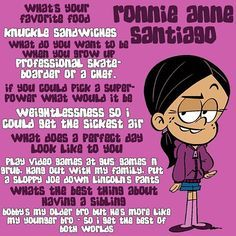 Get to know Ronnie Anne! House Jokes, Loud House Rule 34, Loud House Characters, Disney Characters, Fairly Odd Parents, Famous Cartoons, Fan Art, Cool Animations, Kids Shows