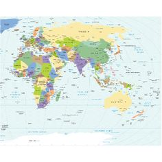 Removable world map wallpaper (full size seen here) World Map Mural, World Map Wallpaper, World Map Design, Removable Wall Murals, Europe, Classroom Setting, Images, How To Remove, Kids