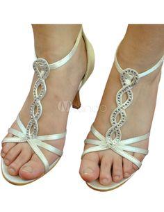 Ivory Rhinestone Open Toe Satin Wedding Sandals - Milanoo.com