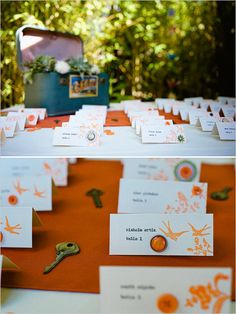 Orange button escort cards. Captured By: Janet Moscarello ---> http://www.weddingchicks.com/2014/05/30/fill-your-wedding-with-beautiful-traditions/