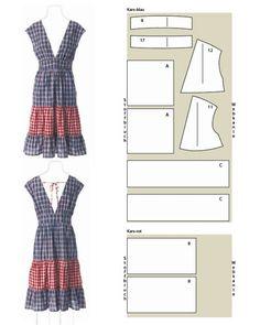 Kleid mit Stufenrock Schnittzeichnung