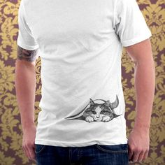Cat tshirt Hiding Kitten Cat Kitty Cat Lover Cute Gift Pet Animal Art Print Mens Cat Shirt - T-shirt - Sizes S, M, L, XL, XXL