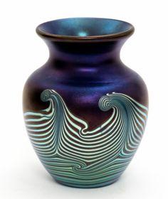 Lot 278 - An Okra studio glass vase, Glass Guild Founder Member 1997/1998, Number 5,