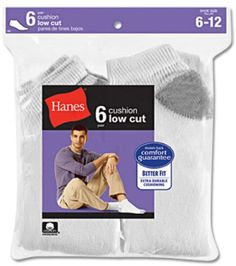 Hanes Men's 6-Pack Cushion Low Cut Socks. Love these socks, really comfy and short