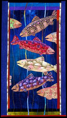 "quilt titled ""Frutti di Maré II"" by Carol Jerome © 2005.  Artist's statement: This piece is a fun play on words; most of the fabric for the fish is prints of fruit that I have painted details over. It is hand stitched and quilted, machine pieced and appliquéd.   21"" wide x 38"" high"