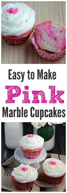 Easy to Make Pink Marble Cupcakes! Cake Mix Upgrades like this are perfect! | Valentine's Day Cupcakes | Baby Shower Cupcakes | Pink Cupcakes | Birthday Party Cupcakes | Gender Reveal Cupcakes | Bridal Shower Cupcakes