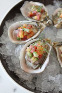 Kusshi Oysters with Nectarine, Watermelon, & Cucumber Mignonette Fun Easy Recipes, Easy Meals, Mignonette Recipe, Outdoor Cooking, Fresh Rolls, Oysters, Cucumber, Watermelon, Good Food