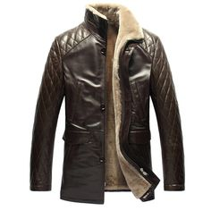 Cwmalls Men's Quilted Leather Shearling Coat at Amazon Men's Clothing store: