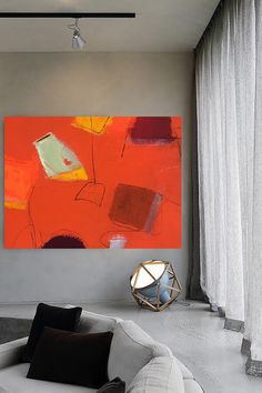 """Autumn colors illuminate this 24"""" x 18"""" painting on canvas in vivid shades of scarlet, saffron and russet for gallery wall exhibit  abstract art painting artwork autumn art fall contemporary art"""