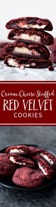 How to make soft and chewy red velvet cookies stuffed with cream cheese frosting! Delicious Christmas cookie recipes on sallysbakingaddiction.com