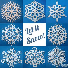 Excellent picture tutorial for folding paper snowflakes and cutting patterns