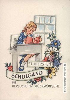 Glückwunschkarte zum ersten Schulgang von 1953 - VEB Postkarten-Verlag Berlin