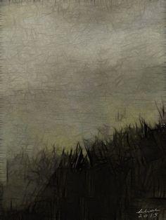 Foggy Landscape iPad painting by Helene Goldberg helenegoldberg.com