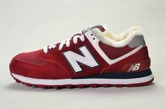 Joes New Balance 574 WL574CPB Retro Lovers Red White Wool Fur Winter Womens Shoes