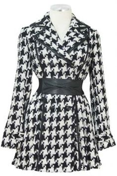 Black and White Houndstooth Print Belted Coat
