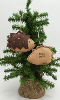 Hedgehog with Balloons Wooden Christmas Ornament 3 Inches