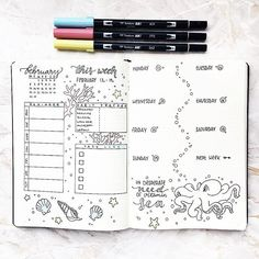 Oh I love this #underthesea #weeklyspread from @girlwithabujo so much! We should all be on a warm tropical beach right now. #Repost @girlwithabujo  ・・・  My weekly spread for next week is already finished. This time I went with way more color and a sea :ocea