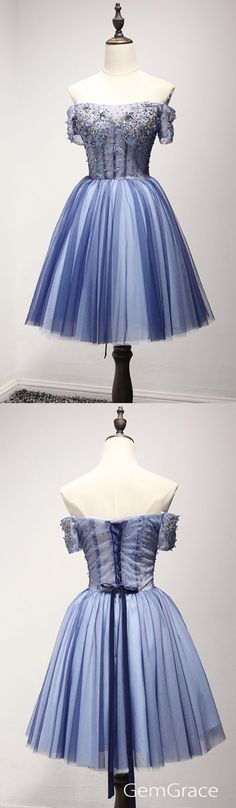 Beaded navy blue tulle homecoming dress with off shoulder