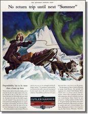 1938 Ben Stahl art ~ Northern lights & Dog sled pushes on to Keewalik Alaska ad