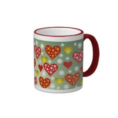 Sip from one of our many Christmas coffee mugs, travel mugs and tea cups offered on Zazzle. Christmas Hearts, Christmas Coffee, Custom Mugs, Den, Snowflakes, Tea Cups, Coffee Mugs, Tableware, Pattern