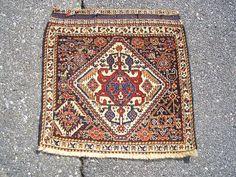 1940s Handknotted Antique Ghasghai-Shiraz Persian Rug Bagface (3170)