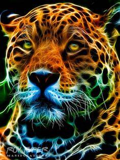 Areas the Jaguar: Fractalius Re-Edit by on DeviantArt Lion Live Wallpaper, Animal Wallpaper, Big Cats Art, Cat Art, Tiger Pictures, Animal Pictures, Animal Paintings, Animal Drawings, Madara Wallpaper