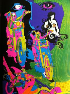 "cryptofwrestling: ""A great old black light poster - ""Bikes and Babes"" (1970) """
