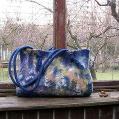 Felted handbag felt bag hand felted bag felted shoulder bag. $135.00, via Etsy.