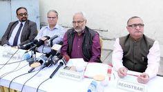 JU Vice-Chancellor Prof RD Sharma holding media interaction.       Excelsior/Rakesh